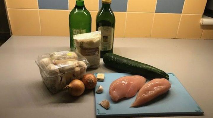 Risotto met kip, courgette en champignons, zonder toegevoegd suiker